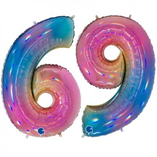 Шар цифра 9 Радуга переливы