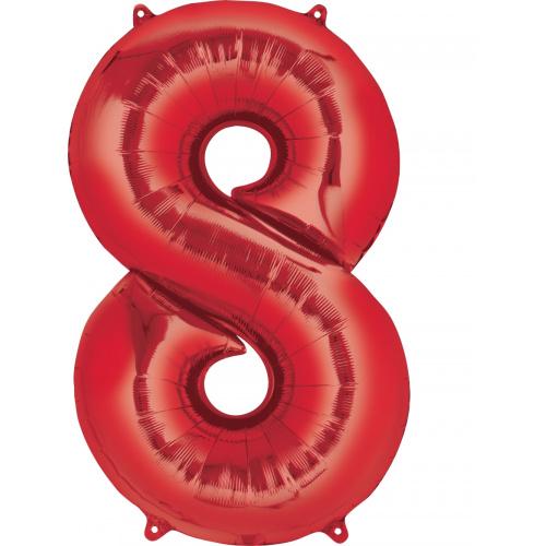 Шар цифра 8 красная