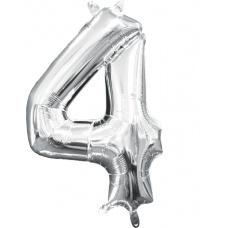Шар цифра 4 серебро