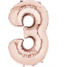 Шар цифра 3 розовое золото