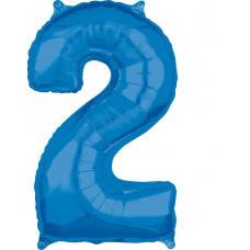 Шар цифра 2 синяя