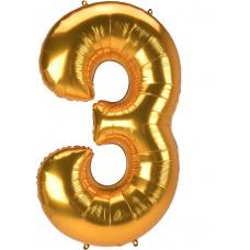 Шар цифра 3 золото