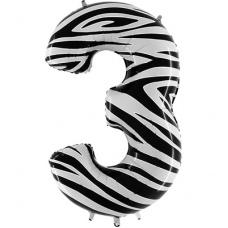 Шар цифра 3 Зебра