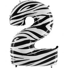 Шар цифра 2 Зебра