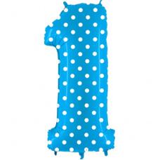 Шар цифра 1 Голубая в горошек