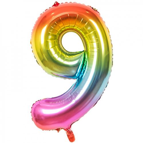 Шар цифра 9 радужная