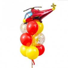 Букет из шаров красный вертолет
