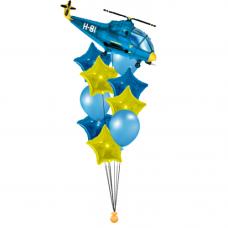 Букет из шаров синий вертолет