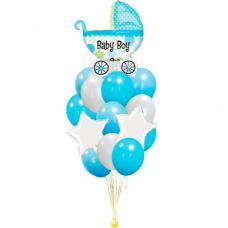Букет из шаров голубая коляска