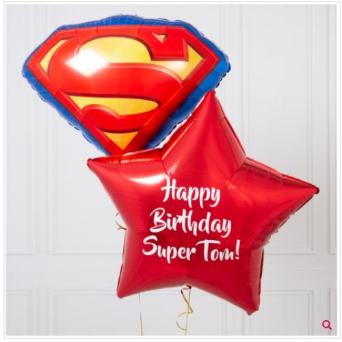 Звезда с вашим текстом и эмблема супермена