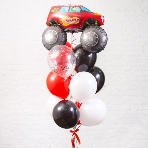 Букет из шаров красный Джип