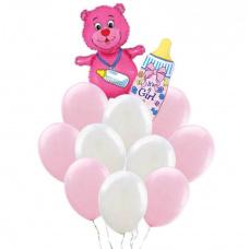 Букет из шаров розовый мишка