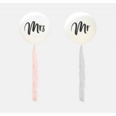 Свадебные шары с кисточками Мистер и Миссис