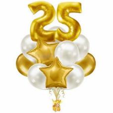 Букет из шаров с золотыми цифрами