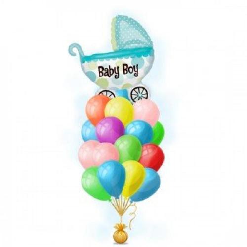 Букет из шаров коляска для мальчика