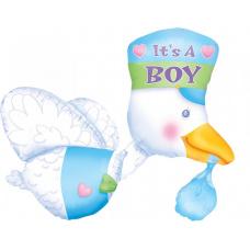 Фольгированный шар Аист голубой