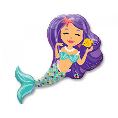 Фольгированный шар Русалка с фиолетовыми волосами
