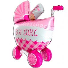 Фольгированный шар 3D Коляска розовая