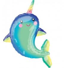 Фольгированный шар Дельфин с радужным рогом