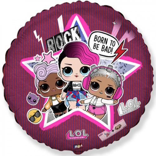 Фольгированный шар круг куклы LOL диско ( ЛОЛ )