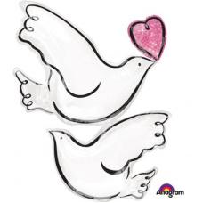 Фольгированный шар Любовь и голуби
