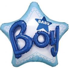 Фольгированный шар ДЖАМБО Baby Boy звезда голубая