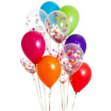 Яркие гелиевые шарики с конфетти