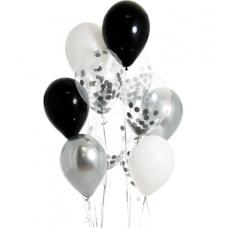 Шары воздушные с конфетти серебро с черным