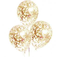 Шар гелиевый с конфетти золото