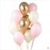 Облако из розовых и золотых шаров хром
