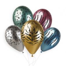Гелиевый шарик Животные Сафари хром